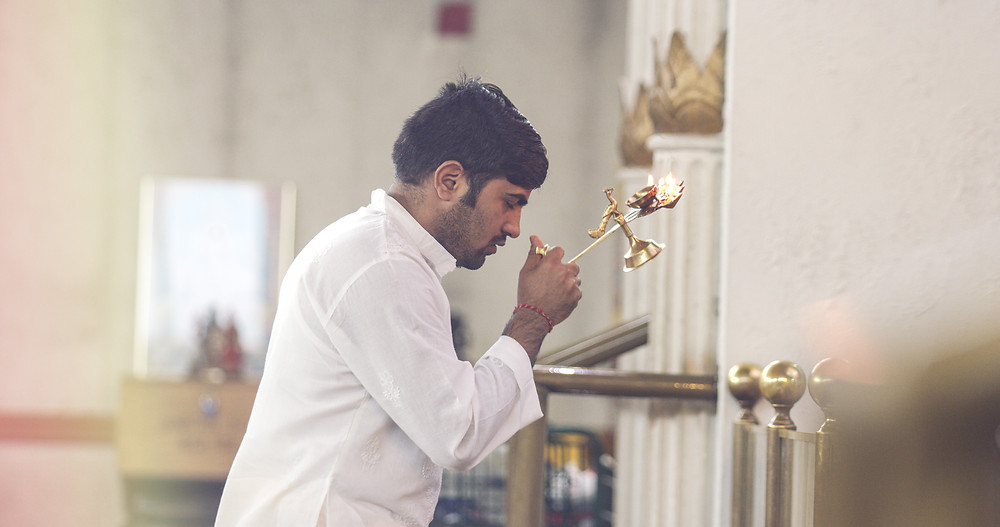 Hindu aarti ritual at Toronto's Hindu Sabha temple