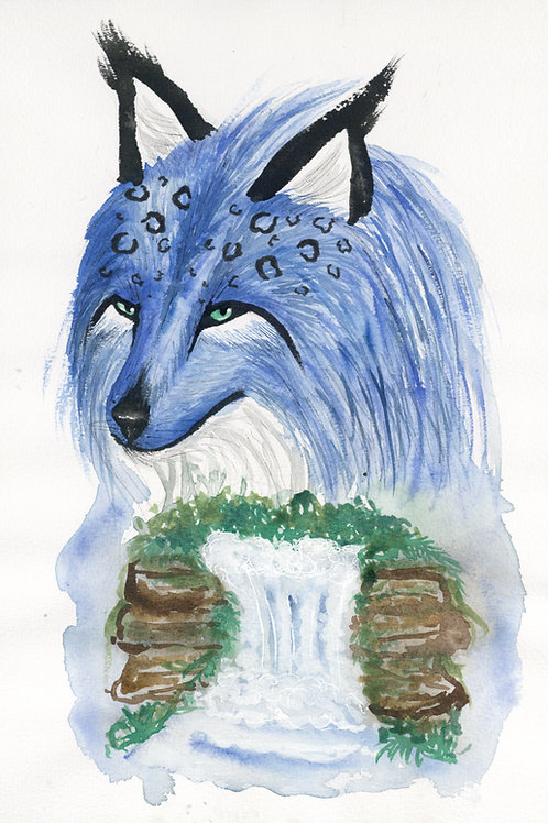 Plunge the Waterfall Fox - Watercolour Painting