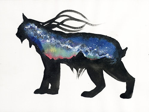 ORIGINAL Watercolour Painting - Aurora Milky Way Lynx.
