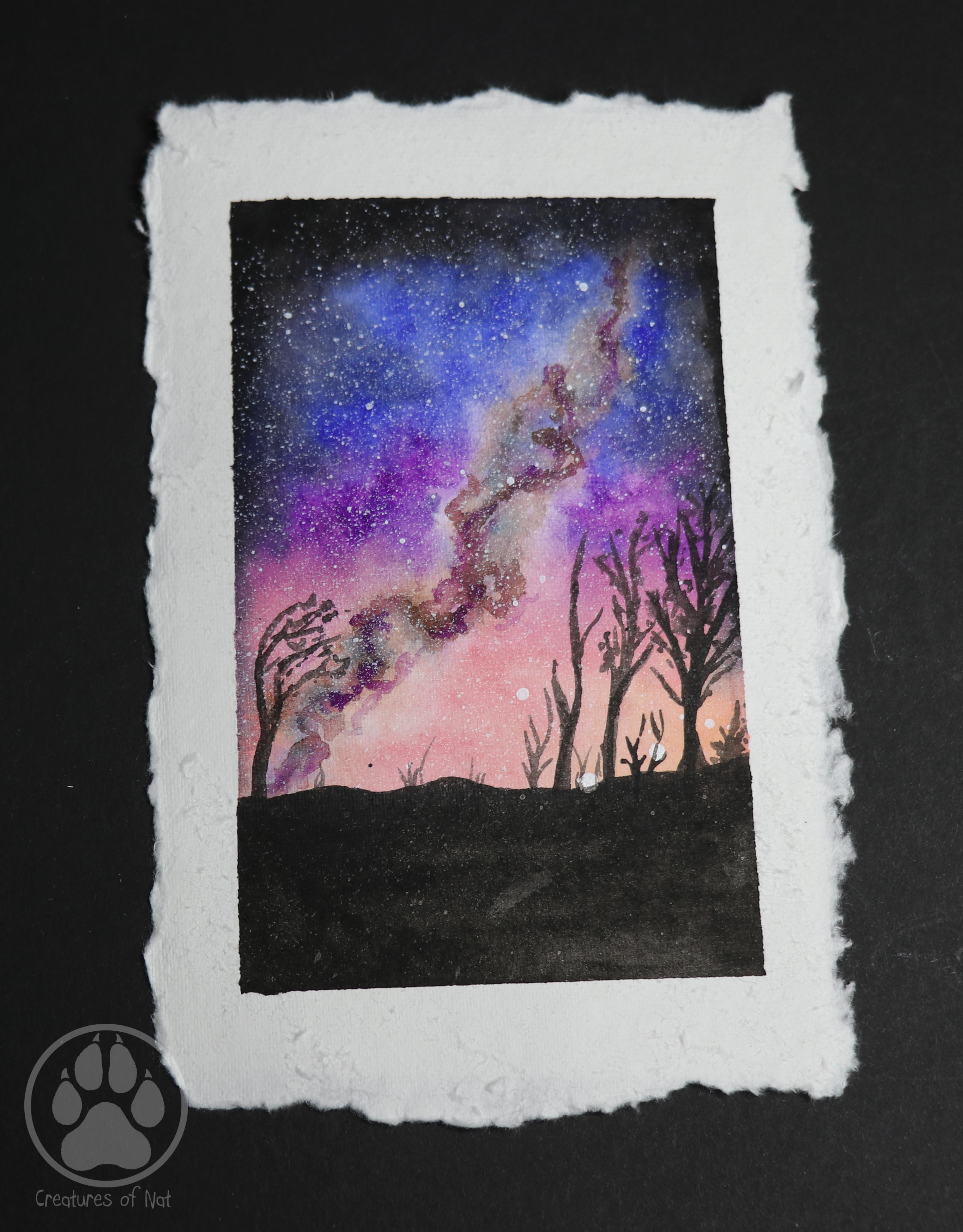 pink desert galaxy sunset