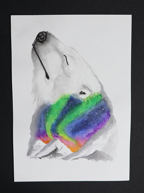 Aurora Polar Bear - Watercolour Painting