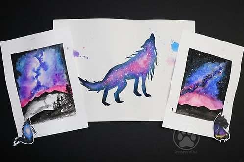 Pink wolf galaxy - pack of Watercolour Paintings