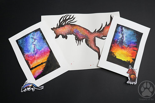RESERVED Orange fox galaxy - pack of Watercolour Paintings