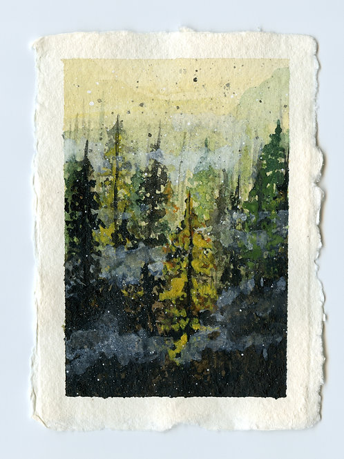 Misty Autumn Forest - Watercolour Painting