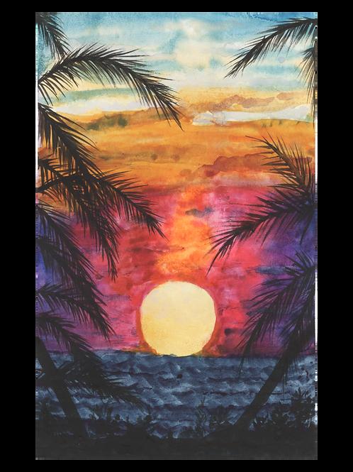 Tropical sunset landscape - Watercolour Painting