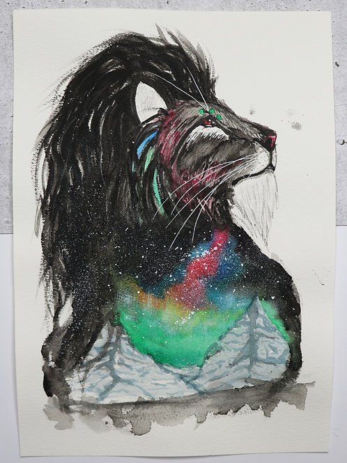 ORIGINAL Aurora Lion - Watercolour Painting