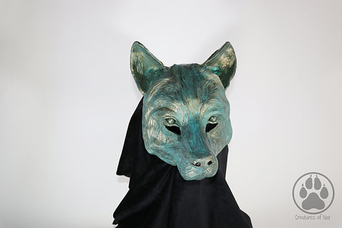 Faux Bronze Verdigris - Resin Wolf Mask