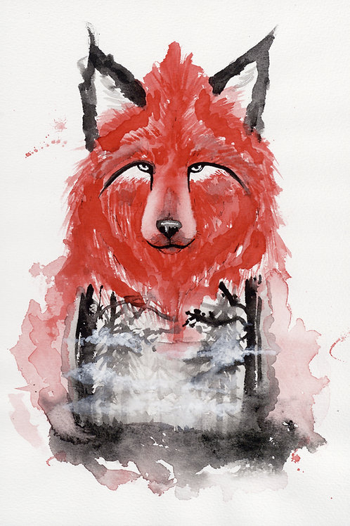 The Red Wolf Forest - Watercolour Painting