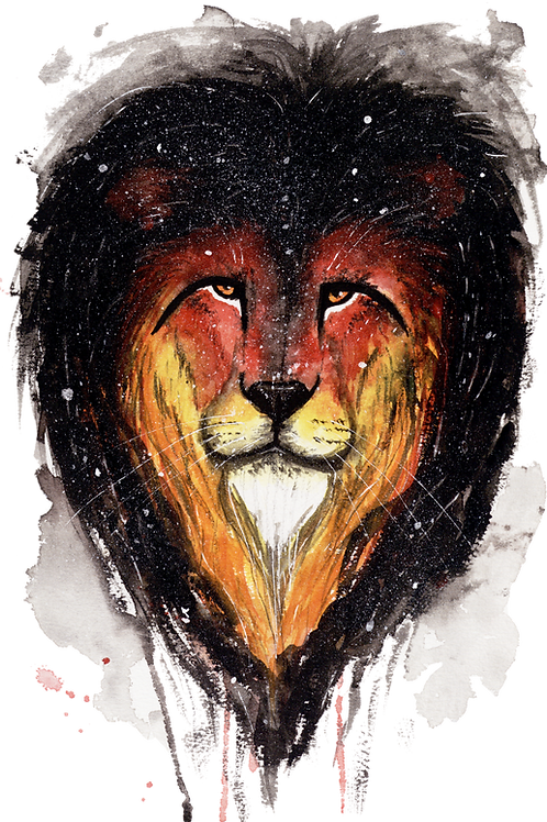 Char the Fire Lion - Watercolour Painting