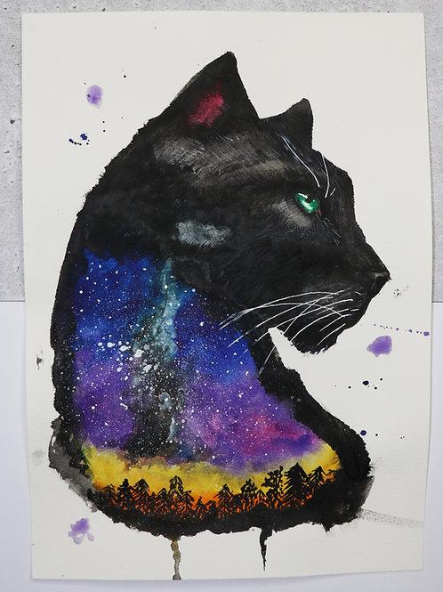 ORIGINAL Aurora Panther - Watercolour Painting