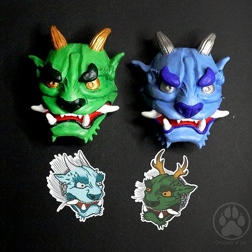 Raijin and Fujin Resin Oni Mini Mask