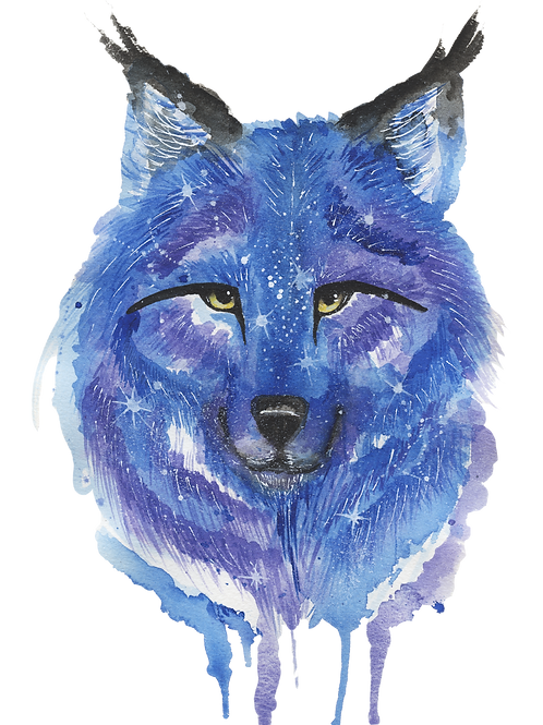 Galaxy Wolf - Watercolour Painting