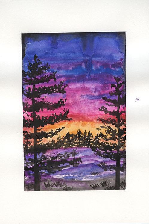 Purple sunset landscape - Watercolour Painting