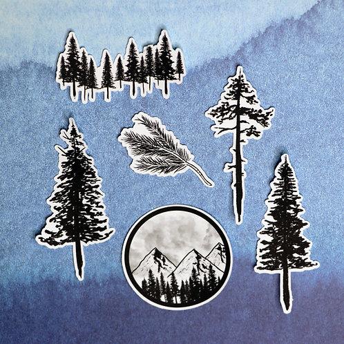 Pine Forest Die-cut Sticker Pack