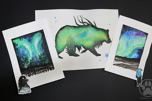 Green bear aurora - pack of Watercolour Paintings