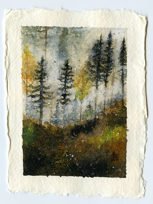 Misty Morning Forest - Watercolour Painting