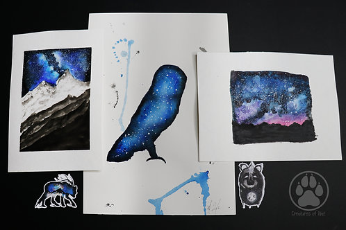 Blue galaxy - pack of Watercolour Paintings