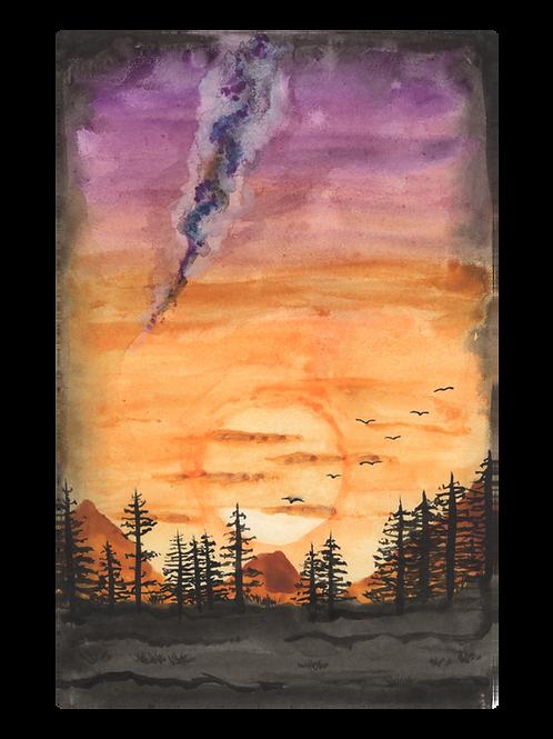 Sunset landscape - Watercolour Painting
