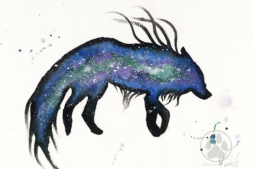 ORIGINAL Watercolour Painting - Green Blue Nebular Wolf.