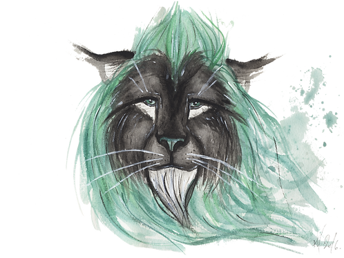 Triclinic Turquoise Lion - Watercolour Painting