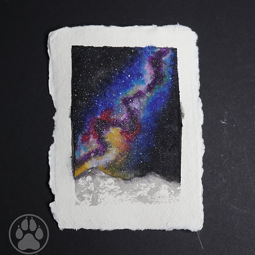 Snow Mountain Galaxy - Watercolour Painting