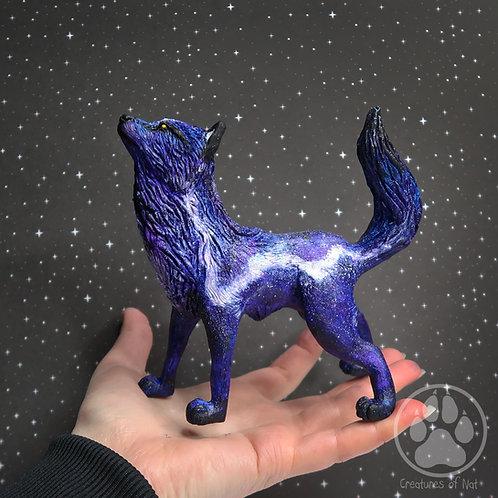 Alpha the Purple Galaxy Wolf Sculpture