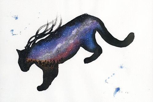 ORIGINAL Watercolour Painting - Sunset Galaxy Leopard.