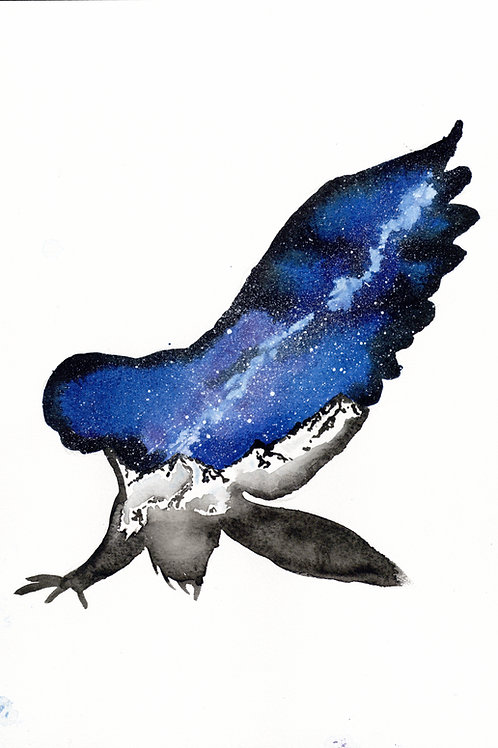 ORIGINAL Watercolour Painting - Midnight Galaxy Owl.