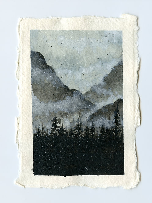 Misty Mountain Forest - Watercolour Painting