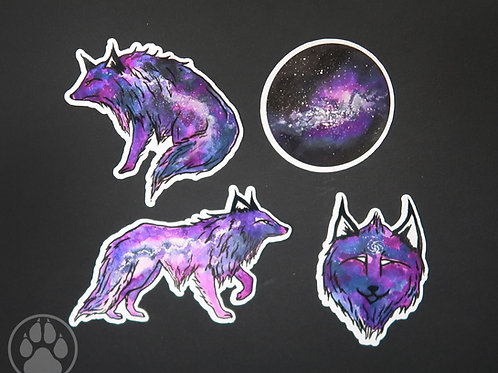 Purple Galaxy Wolf - Sticker Pack