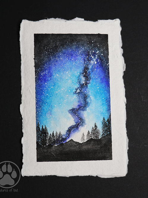 Blue Mountain Galaxy - Watercolour Painting