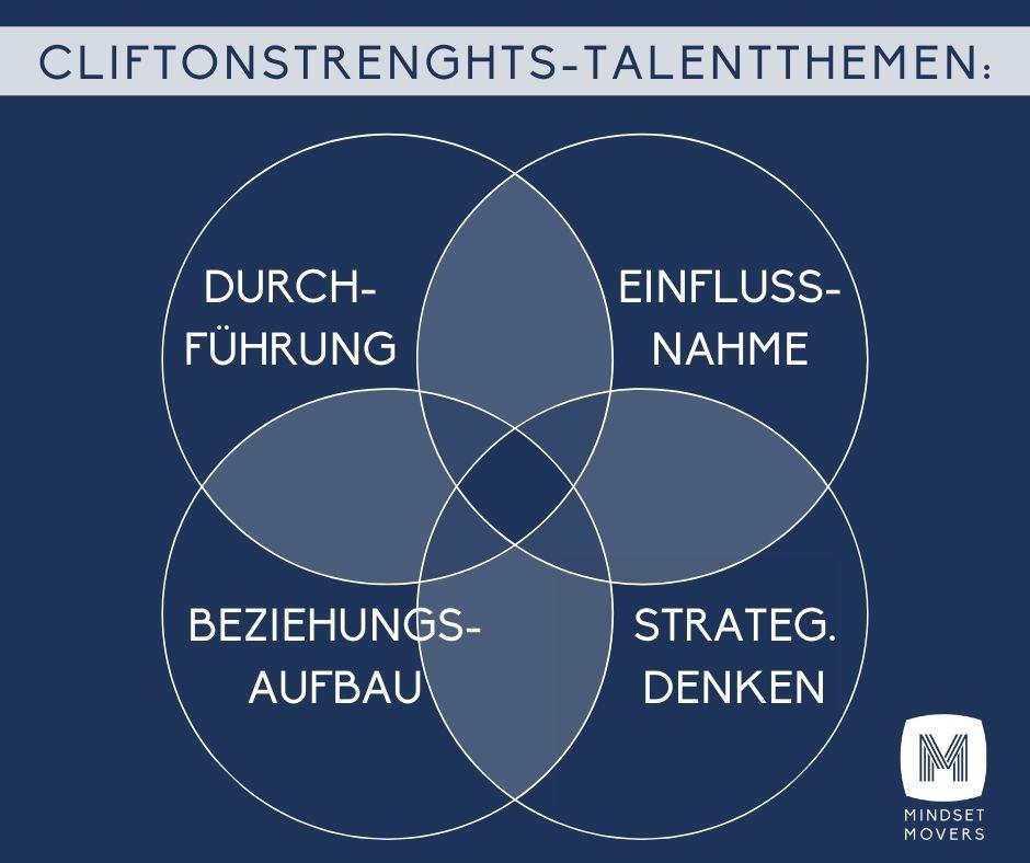CliftonStrenghts Assessment Talentthemen: Durchführung, Einflussnahme, Beziehungsaufbau, Strategisches Denken