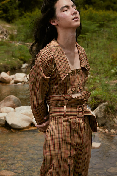 Detachable-Waist Ruffled Top in Brown Check
