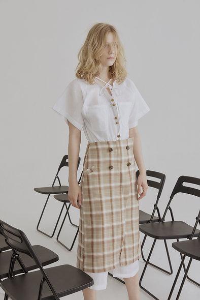 Check Button-up Pencil Skirt