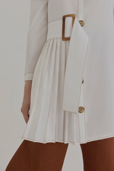 Half-Pleated Off-Shoulder Shirt Dress in White