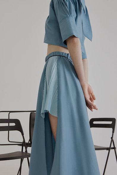 Lea Raw-edge Side Pleated Skirt - Blue