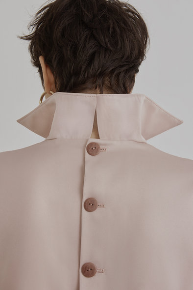 Pocket Line Office Blouse in Nude Pink