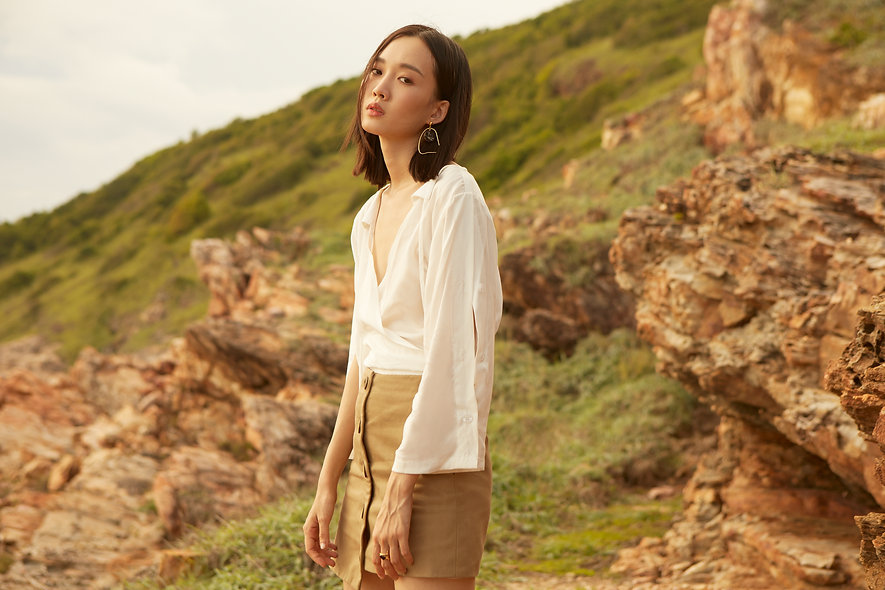 Khaki Asymmetric Button Front Mini Skirt