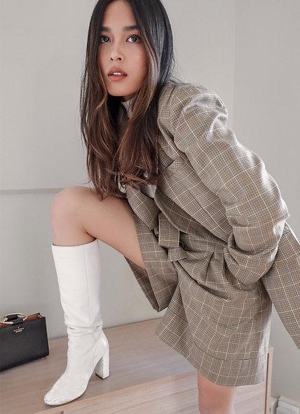 Effy Suit Shorts - Brown Plaid