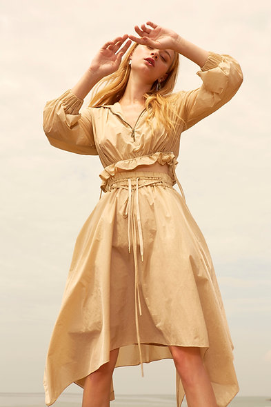 Harper Nylon Asymmetric Hem Skirt - Khaki