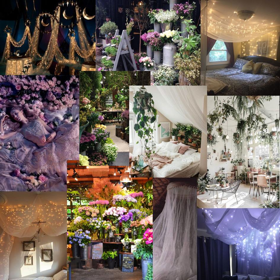 Initial 'sleeping beauty' inspired moodboard for a bedroom scene