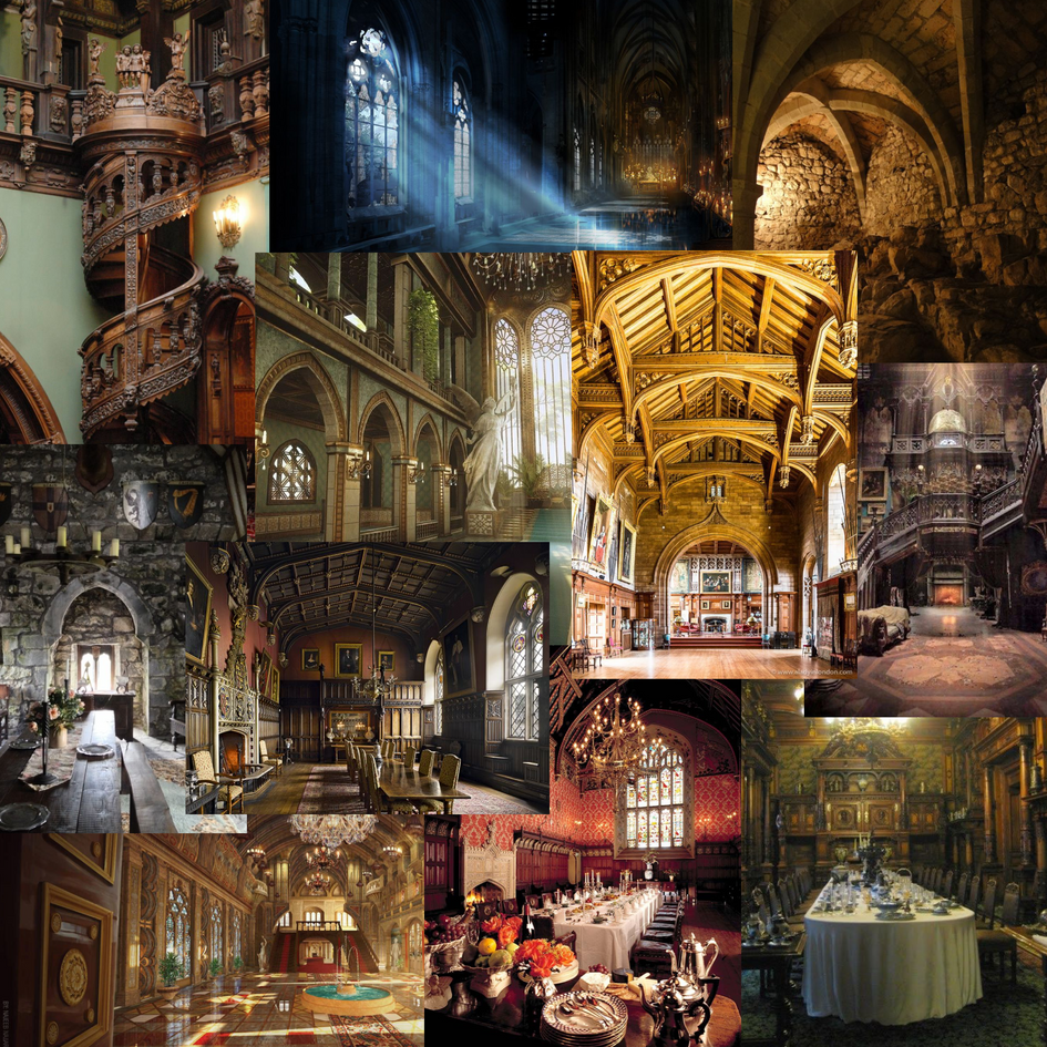 Initial ideas moodboard for a scene set in an old castle dining hall