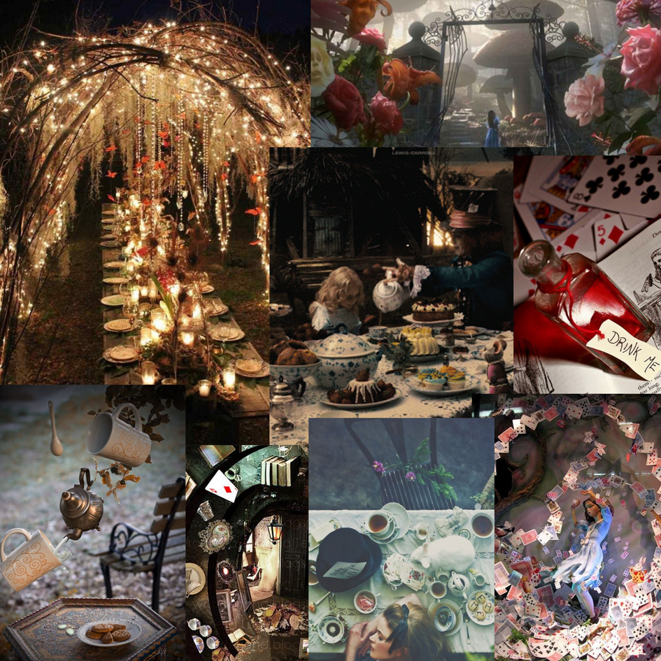 An initial 'Alice in Wonderland' inspired moodboard for Through the Mirror