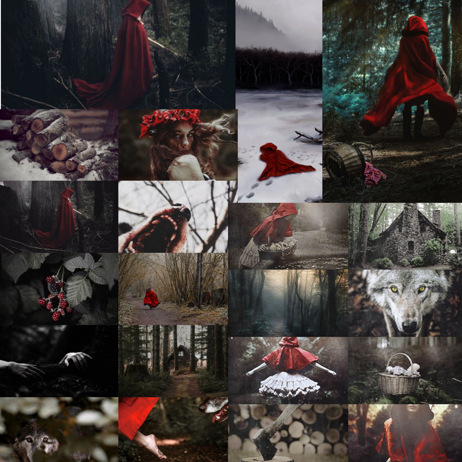 Initial 'red riding hood' inspired moodboard