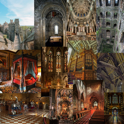 Initial ideas moodboard for an English castle scene