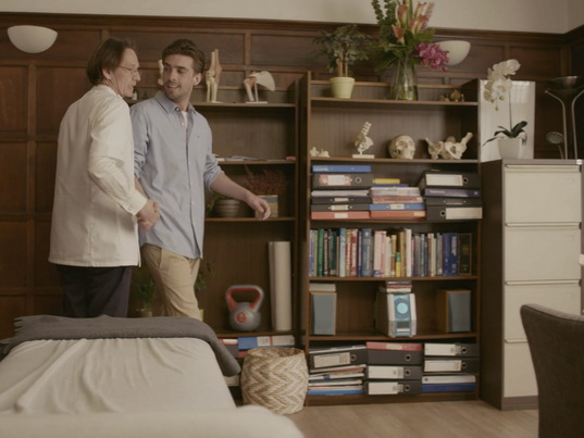 Still from Let Go, which I designed, sourced the props, and dressed the set for.