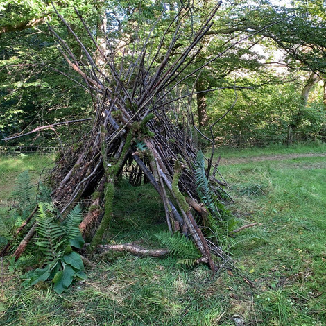 BTS PHOTO OF STICK SHELTER BUILT FOR JESSIE AND THE ELF BOY