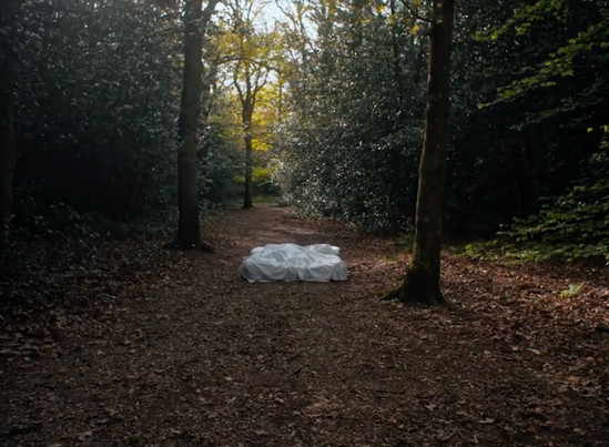 I sourced this bed and sheets, and transported it to the woods for Bottle