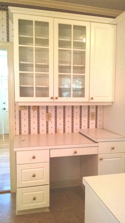 ODT Side Desk and Glass Cabinets in Kitchen