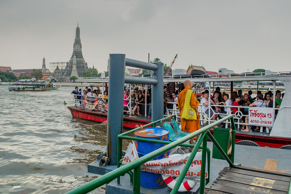 Water Taxi with Wat Arun in the background